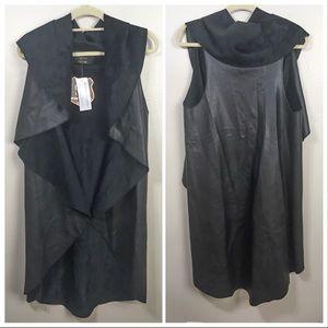 QED London ASOS black reversible long vest, jacket